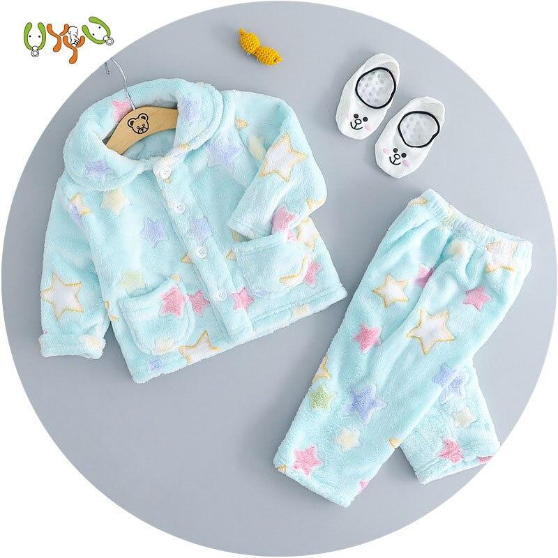 autumn and winter children's pajamas home clothes plus velvet warm girls fleece suit flannel winter