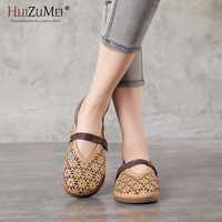 HUIZUMEI Stylish Soft Shoes Women Genuine Leather Fashion Flat Shoes Plus Size Real Leather Hand made Loafers Female Nude Shoes