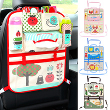 Cartoon Baby Car Seat Organizer Foldable Baby Stroller Pouch Universal Hanging Basket Storage Bag with Infant Bottles Holder cartoon multifunctional waterproof baby stroller bag baby universal hanging basket car seat storage bag stroller accessories