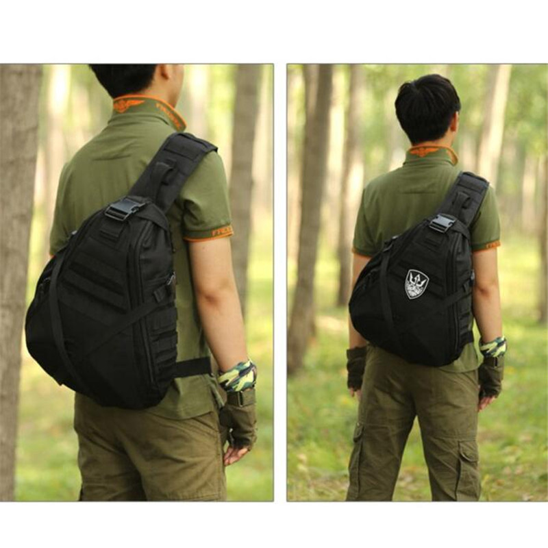 Men's bags large capacity travel one shoulder backpack 14 inch laptop female chest package bag nylon  high grade military bags