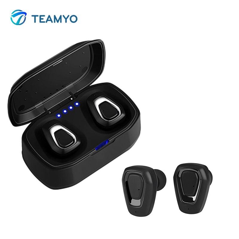 Teamyo TWS Wireless earphones Bluetooth headset Stereo True wireless earbuds Mini Eearphone With Microphone Charge Box for Phone
