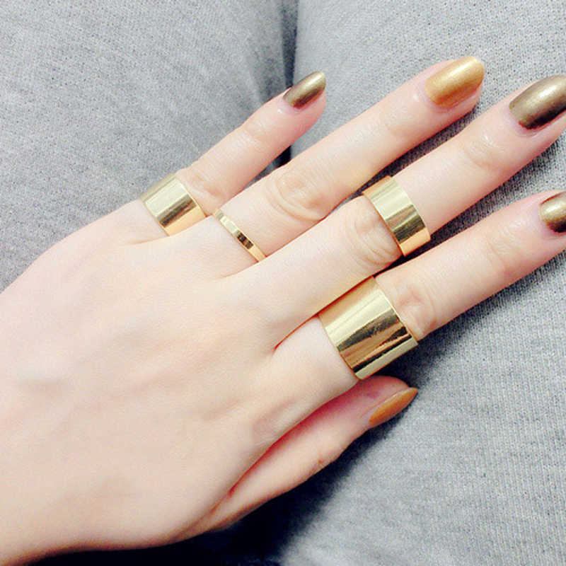 ZN 2019 Korean Punk Mens Ring Set for Women 1 Set 4Pcs Gold Color joint Rings Fashion Jewelry High Quality