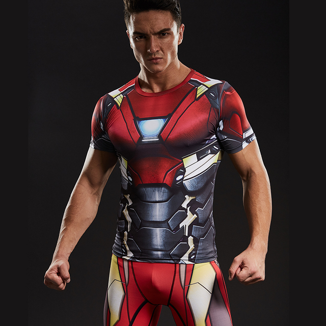 Homem de ferro 3D Impresso T camisas Dos Homens Camisa De Compressão Marca novo  Spiderman Comics 9123cc1d49da7