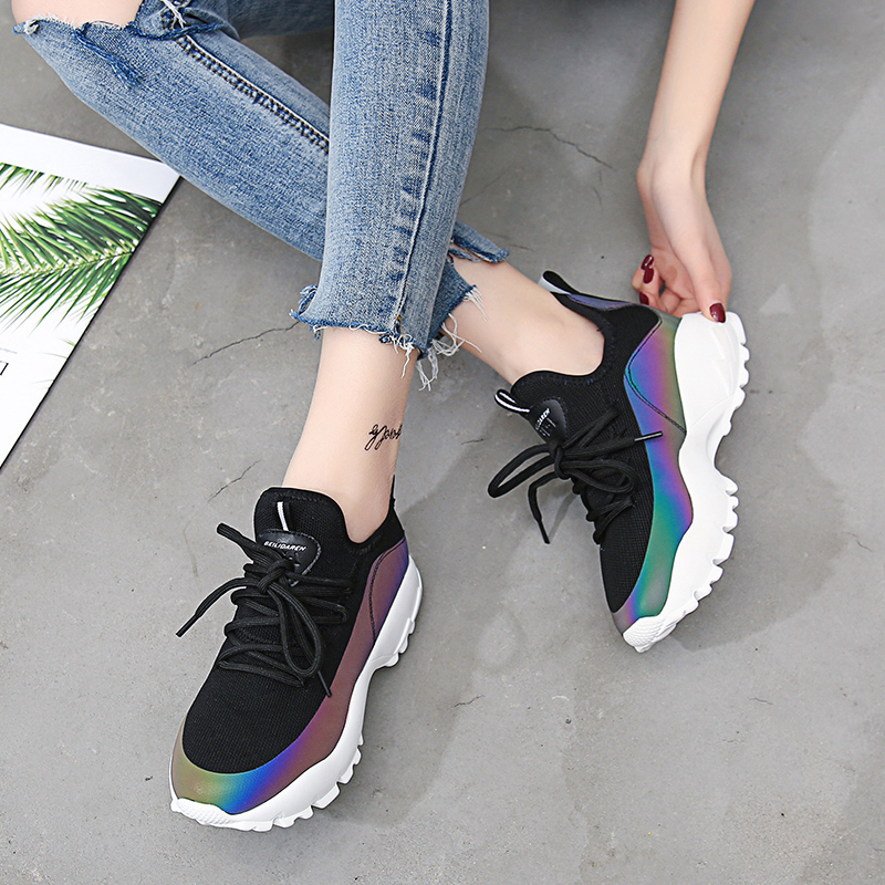 b809fe3ac7 NEWDISCVRY Colorful Women Platform Sneakers 2018 Fashion Air Mesh ...