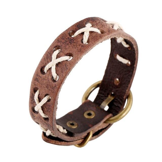 Heiße sSale Männer frauen Brown Handgefertigte Leder Armbänder Retro ...