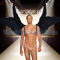 Costumed beautiful black cartoon feather angel wings for Fashion show Displays wedding shooting props Cosplay game costume