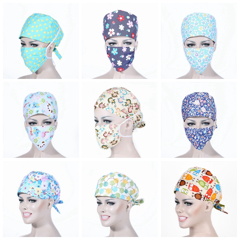 Unisex Medical Clothing Women Medical Beauty Cap Man Doctor Nurses Printing Scrub Cap + Mask Medical Surgical Surgery Hat