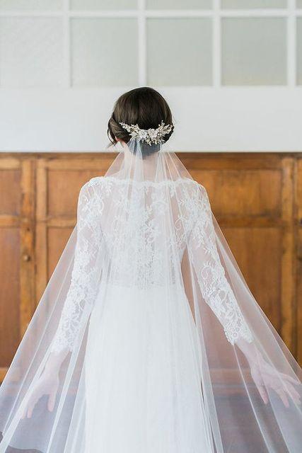 Wedding Veil  Meters Whitegold Lace Beaded Sparkling Purfle Long Cathedral Wedding Veils Elegant Mariage Veus