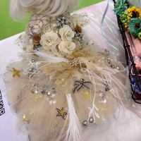 Pet Dog Dress Golden Gorgeous Lace Embroidered Short Style Wedding Tutu Dress For Small Dogs Flower Adorn Feather Skirt Poodle