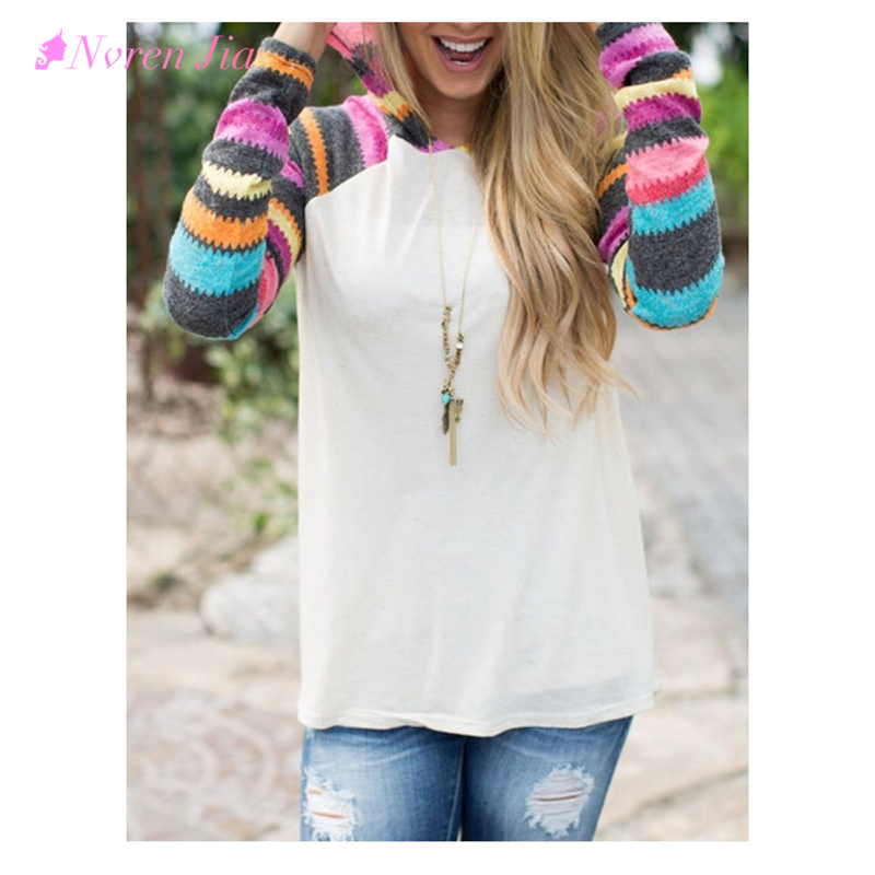 2018 Long Sleeve Women Hoodies Shirts Rainbow Sleeve Hooded Female Autumn Sweatshrts Casual White Thin Striped Pullovers