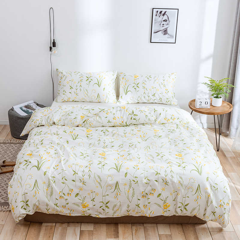 WUJIE 2Pcs/3Pcs Flower Pattern 100% Cotton Comforter Bedding Set with Pillowcase Duvet Cover Set Twin/Queen/King Home Textile