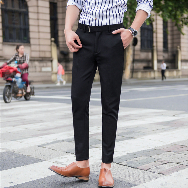 216be4d5a14 Business Casual Men s Trousers Fall New Slim Fit Pants Daily Office Wear Black  Navy Blue Personality
