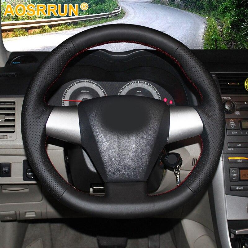 AOSRRUN Genuíno Volante de Couro Tampa Do Caso para Toyota COROLLA 2011 RAV4 2012 Carro-styling