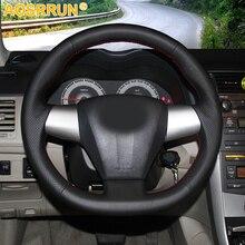 AOSRRUN Genuine Leather Steering Wheel Cover Case for Toyota COROLLA 2011 RAV4 2012 Car styling