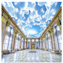 beibehang Custom fashion stereo papel de parede 3d wallpaper HD huge blue sky white clouds zenith bedroom living room