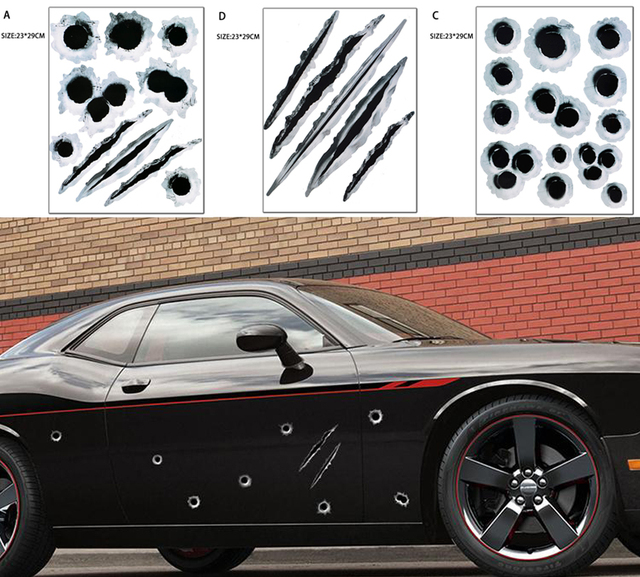 3D Fake Bullet Holes Stickers