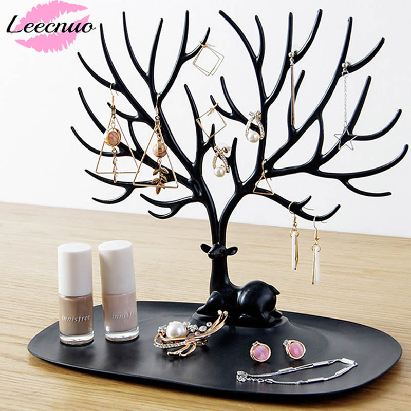 Leecnuo Little Deer Jewelry Holder For Necklace Ring Pendant Bracelet Display Stand Tray Tree Jewelry Storage Racks Organizer