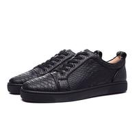 Новые модные черные змеиной кожи Повседневная Мужская обувь круглый носок на шнуровке Туфли без каблуков Лоферы Street Стиль вечерние модельн