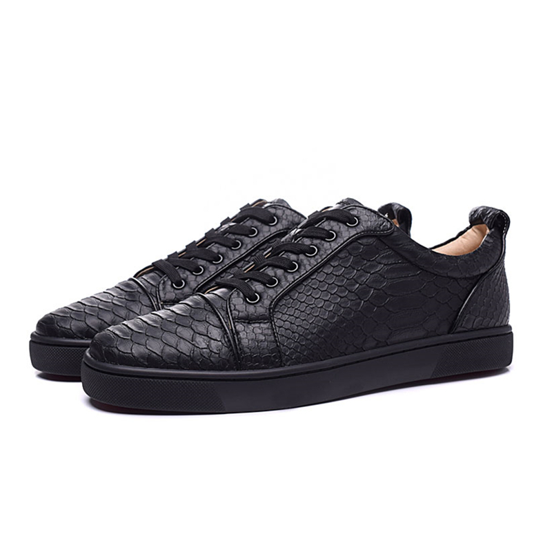 New Fashion Black Snake skin Mens Casual Shoes Round Toe Lace Up Flats Loafers Street Style Party Dress Shoes tenis feminino 46 sexy leopard seude leather mens loafers luxury rivets round toe lace up flats casual shoes trainers ultra boosts tenis feminino