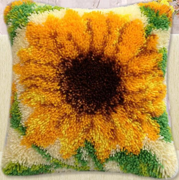 Diy mouchoir tricoté tapis inachevé oreiller broderie tapis livraison gratuite Crochet De Verrouillage Tenir oreiller fleurs de tournesol