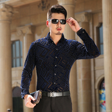 new type 2016 Males's Style Floral stitching shirt prime quality informal long-sleeve shirt Native tyrants gold S-3XL Gown MT16034
