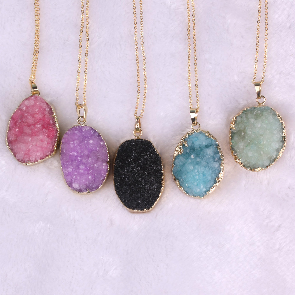 Druzy Free From Drusy Gjerdan varëse prej guri natyral vjollcë prej - Bizhuteri të modës - Foto 2