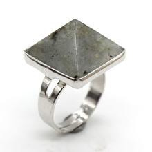 Trendy-beads Silver Plated Engagement Ring Adjustable Natural Labradorite Stone Square Pyramid Finger