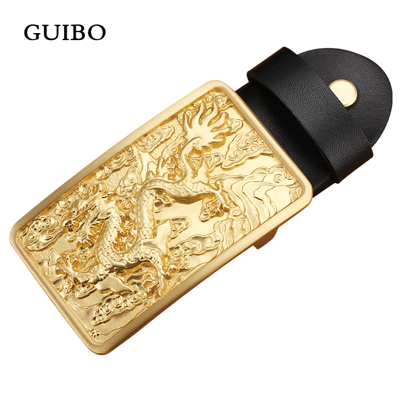 High Quality Belt Buckle For Men 100% Solid Brass Copper Belt Buckle Antique Retro Men Chinese Dragon Embossed Buckle