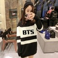 BTS Sweatshirt Women 2015 Bangtan Boys Felpe Donna Black And White Autumn Long Sudaderas Mujer Harajuku Hoodies BTS Sweatshirt
