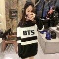 Bts camisola mulheres 2015 Bangtan meninos Felpe Donna preto e branco outono longo Sudaderas Mujer Harajuku Hoodies BTS camisola