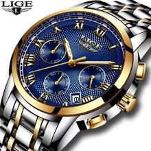Новый LIGE часы Для мужчин Элитный бренд хронограф Для мужчин спортивные часы Водонепроницаемый полный Сталь кварцевые Для мужчин смотреть Relogio Masculino + коробка