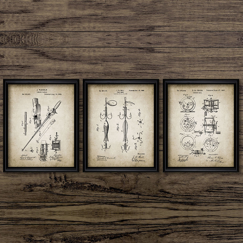Vintage Fishing Patent Canvas Poster