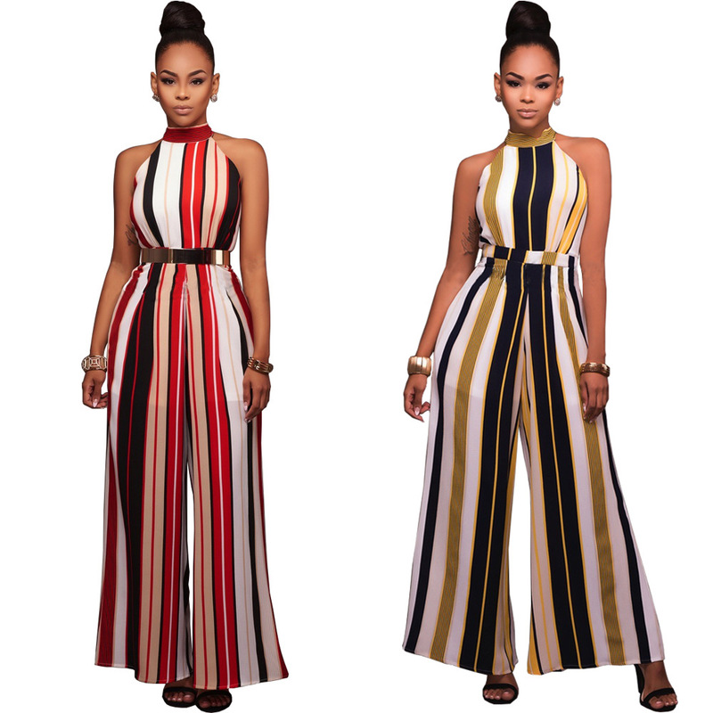 Europe and the United States women s speed sell pass hot sexy stripe bind wide legged   jumpsuits