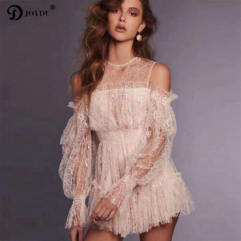 JOYDU piste marque épaule dénudée blanc dentelle robe 2018 nouveau Sexy volants Transparent à manches longues Mini Boho doux robes pour les femmes