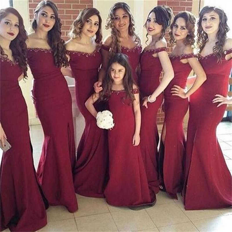 2018 Sexy Mermaid   Bridesmaid     Dresses   Appliques Beaded Slit African Bridal Prom   Dress   Party Gowns Custom Made Maid Of Honor   Dress