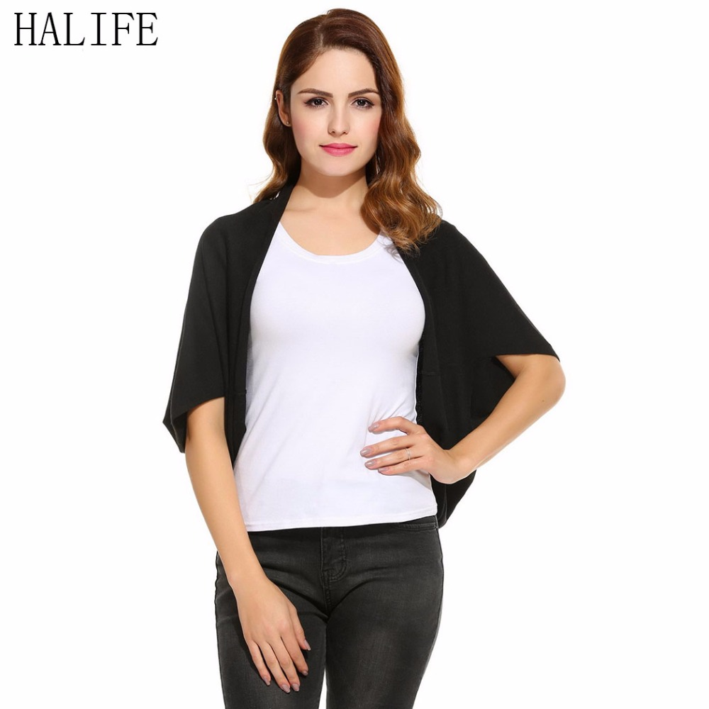 HALIFE Poncho Cardigan Shrugs For Women Sweater Batwing Short ...