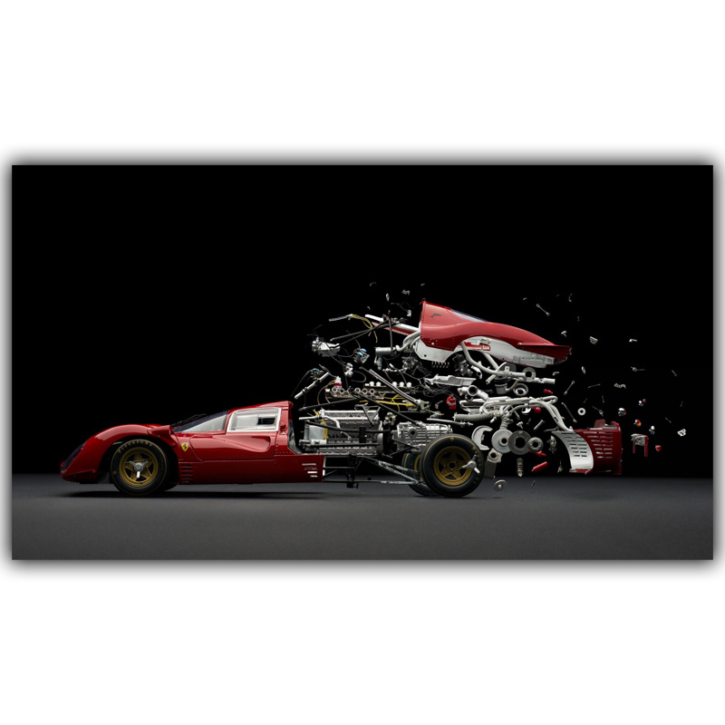 Sports Car Auto Parts Combination Poster Custom Home