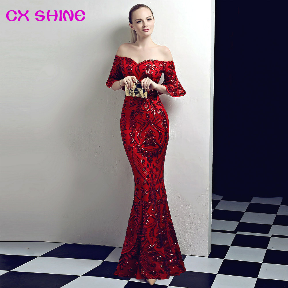 long formal evening dresses CX SHINE sequin trumpet sleeves sexy mermaid  Retro prom party dress elasticity 97f52f739d69