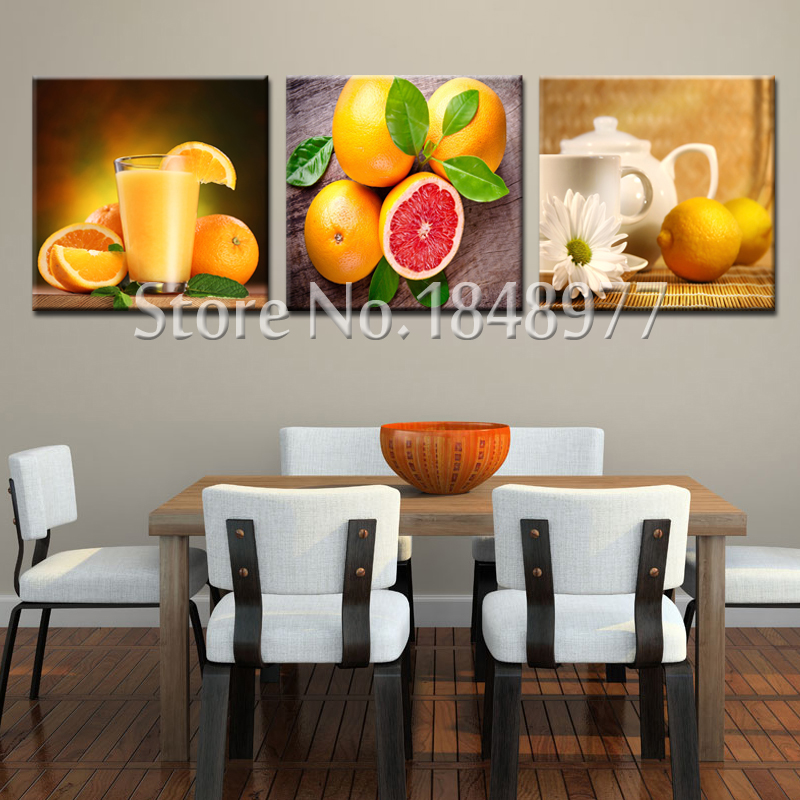 1 Room Kitchen Decoration: 3 Panel Modern Fruit Oil Painting Wall Pictures For