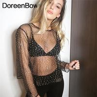 DoreenBow Summer Long Sleeve Women Mesh T Shirt Glitter Tee Crop Top Sequined New Fashion Chic