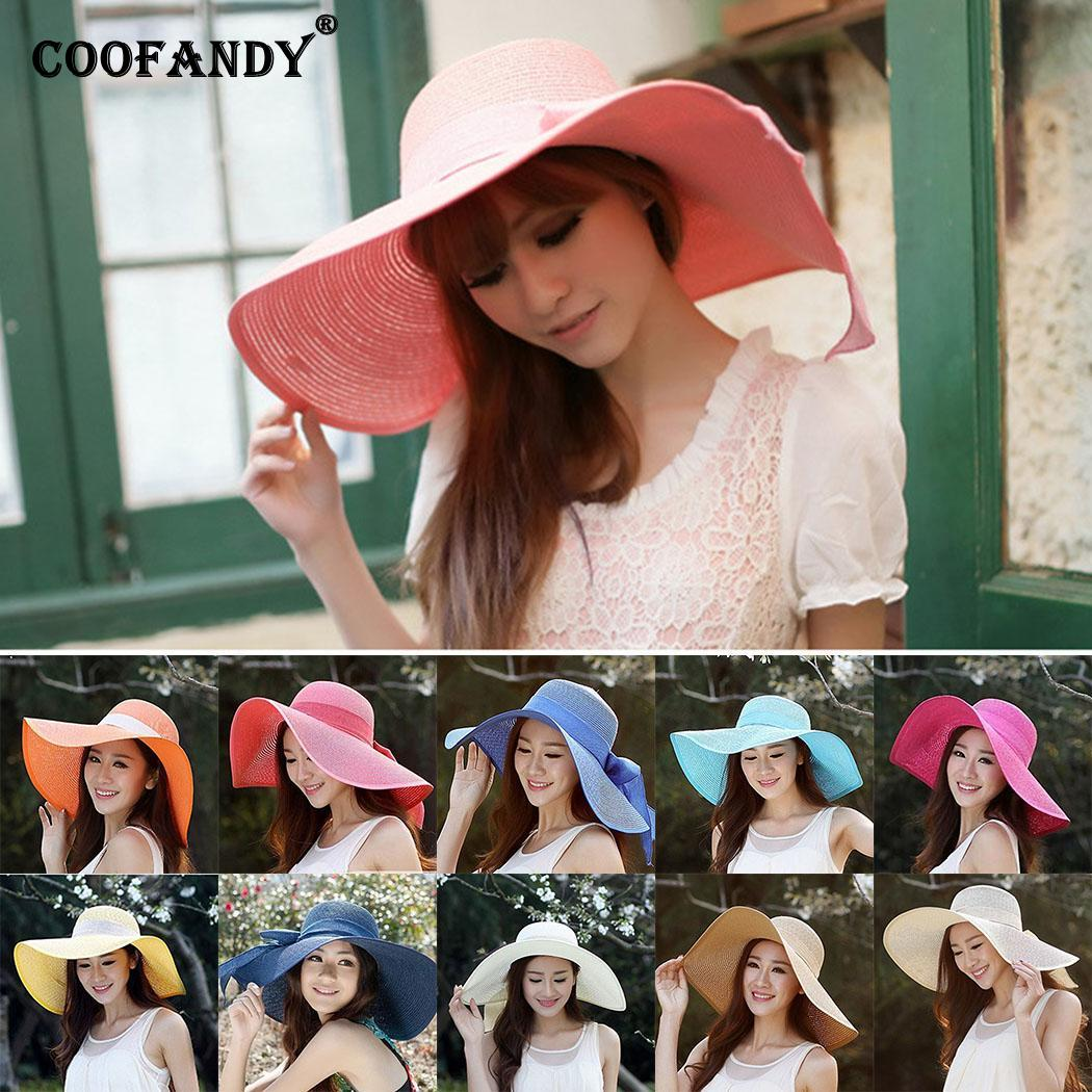 Women Summer Round Shape Foldable Sunscreen Bow Tie Solid Beach Hat(China)