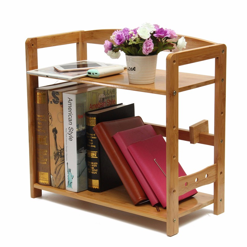 Two Layers Desktop Bookcase Simple Solid Wood Shelf Office Bookshelf Bamboo Small For Study