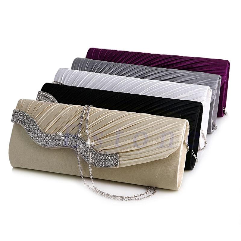 New Fashion Satin Diamante Pleated Crystal Evening Handbag Wedding Bridal Party Clutch Purse