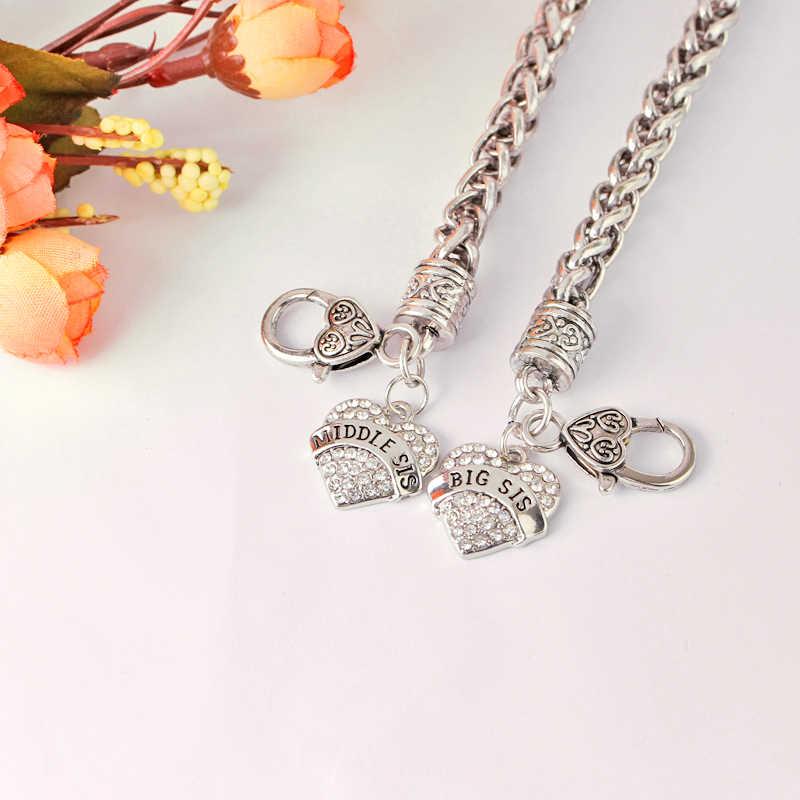 Lớn Trung Ít Sis Vòng Đối Với Phụ Nữ đầy đủ rhinestone popcorn Chain tim charm Bracelet Femme linh hồn chị Thư bracelet