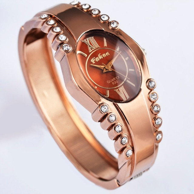 Fuahua Brand Luxury Rhinestone Wristwatches Fashion Rose Gold Bracelet Watch Wom