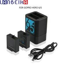 Lanbeika 2pcs 1220mah 충전식 배터리 + hero5 hero6 gopro hero 용 듀얼 배터리 충전기 7 6 5 블랙 카메라 액세서리