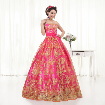 Free ship pink sequined flower embroidery beading ball gown royal Medieval Renaissance Victorian dress Belle ball