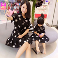 2016 Primavera A Juego Vestidos de Ropa de La Familia de Madre E Hija de la Estrella Impresa Vestido A Juego de Madre E Hija Madre E Hija Ropa