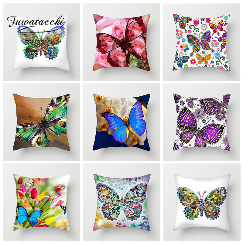 Fuwatacchi Animal Cushion Cover Romantic Butterfly Pillow Cover For Sofa Car Living Room Home Decoration Pillowcase 45cm*45cm