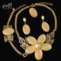 11.11 2017 Uinque Brand Large Pendant Necklace Set Set Fashion Dubai  Gold Plated African Beads Party Wedding Jewelry Set